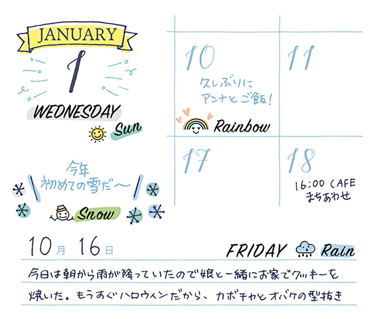Midori Color-In Planner Stamp Daily & Weather