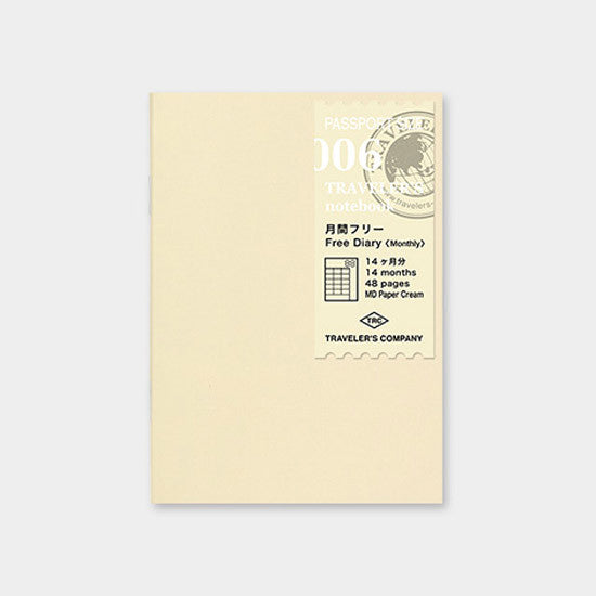 Midori Traveler's Note Passport: 006 Monthly Planner Refill
