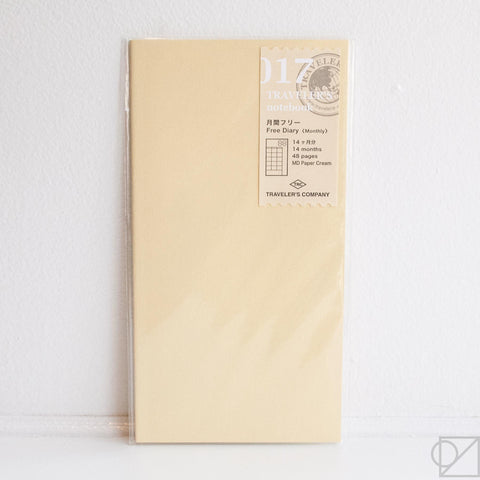 Midori Traveler's Note: 017 Monthly Planner Refill