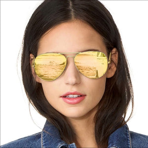 Gold Polarized Aviator Sunglasses - Shop Evelyne