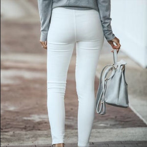 White Stretch Motto Jeggings Zipper Trim - Shop Evelyne