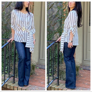 Beautiful Striped Side Tie Tunic Blouse - Shop Evelyne
