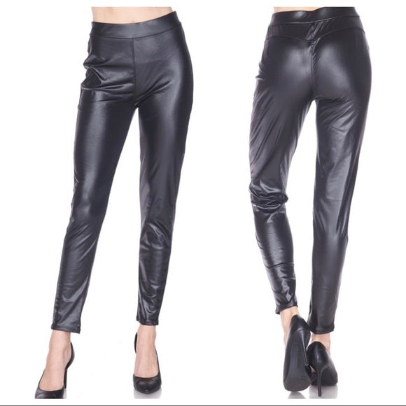 Faux Leather Slimming Amazing Fit Leggings - Shop Evelyne