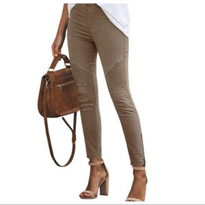 Mocha Stretch Motto Jeggings With Zipper Trim - Shop Evelyne