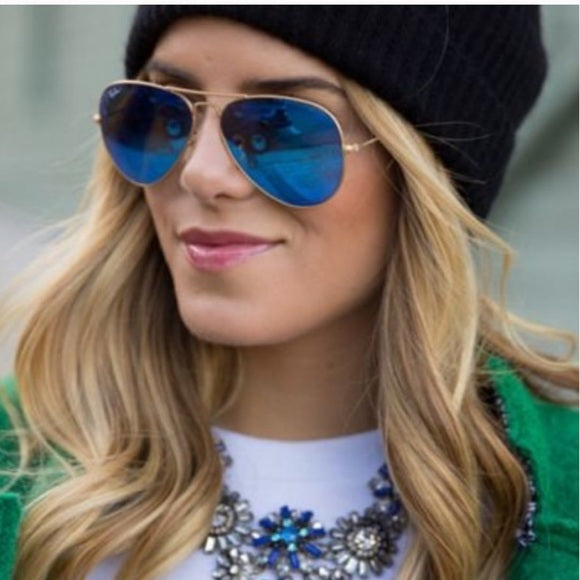 Mirrored Aviator Blue Sunglasses - Shop Evelyne