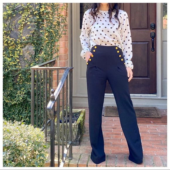 Best Fitting Gold Button Sailor Pants - Shop Evelyne