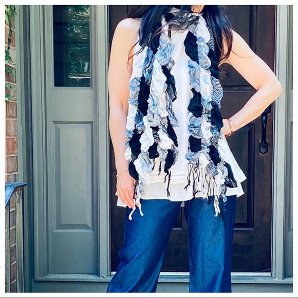CHIC FRINGE BLACK AND OFF WHITE SCARF - Shop Evelyne
