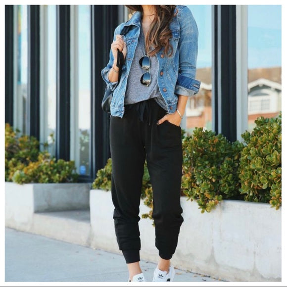 COZY CHIC BLACK SIDE POCKETS JOGGERS - Shop Evelyne