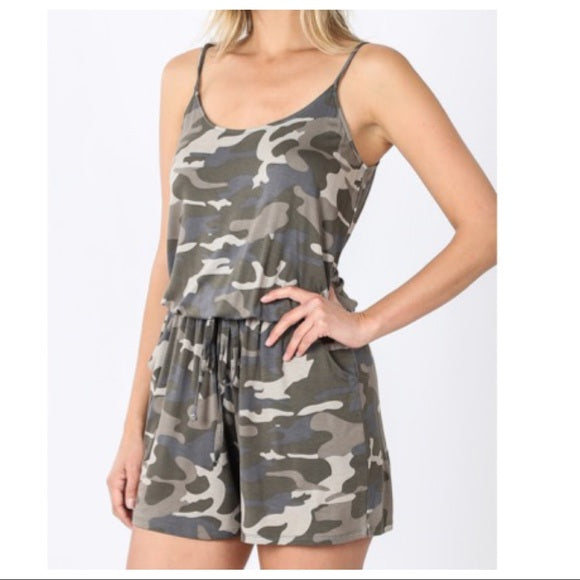 CAMOUFLAGE CHIC TANK ROMPER - Shop Evelyne