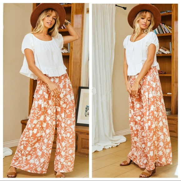 Floral print pleated wide leg fabulous pants