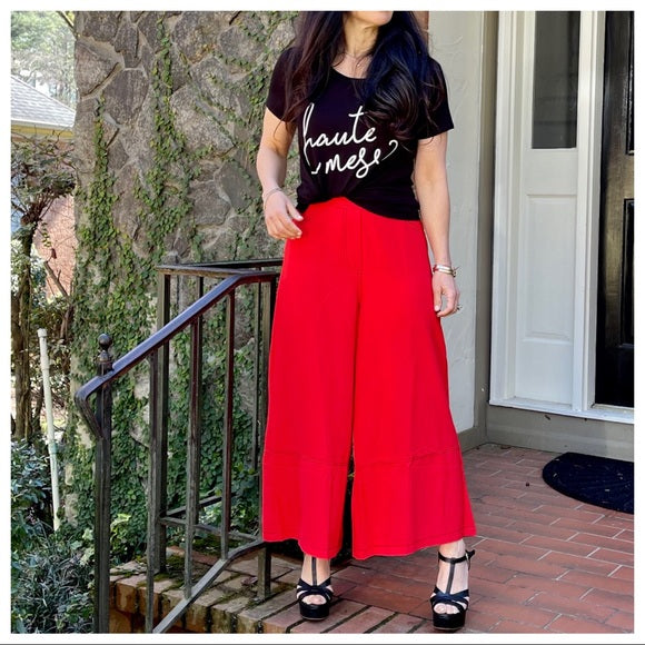 Red fabulous wide leg capri pants