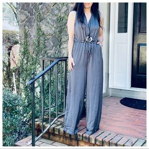 Fabulous grey tie at the waist wide leg jumpsuit