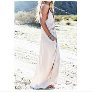 Adjustable straps loose fit pocket maxi dress