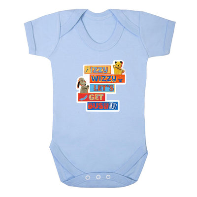 Sooty Izzy Wizzy Let's Get Busy Stacked Short Sleeve Baby Grow-Sooty's Shop