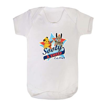 Sooty And sweep Established 1948 Short Sleeve Baby Grow-Sooty's Shop
