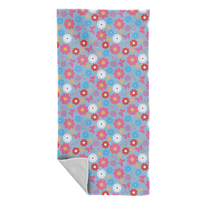 Sooty Flower and Butterfly Pattern Beach Towel
