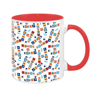 Sooty Blocks White Print Pattern Two Colour Mug