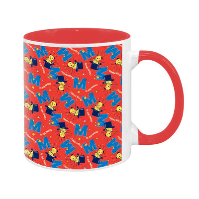 Sooty Magic Hat Red Print Pattern Two Colour Mug