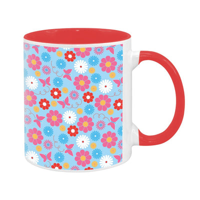 Sooty Floral Pattern Two Colour Mug
