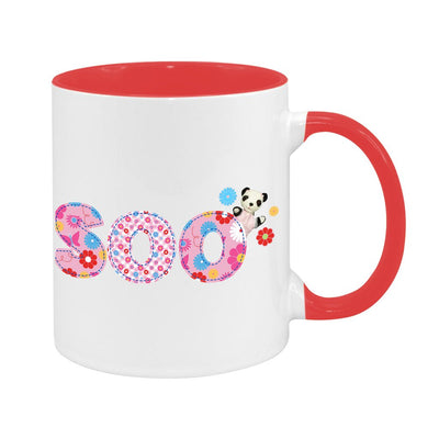 Sooty Soo Floral Text Two Colour Mug
