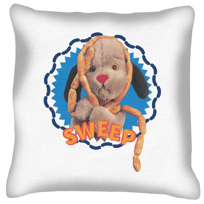Sooty Sweep's Sausages Yellow Text Print Cushion