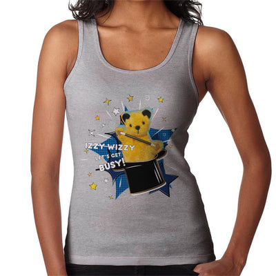 Sooty Top Hat Izzy Wizzy Let's Get Busy Women's Vest-Sooty's Shop