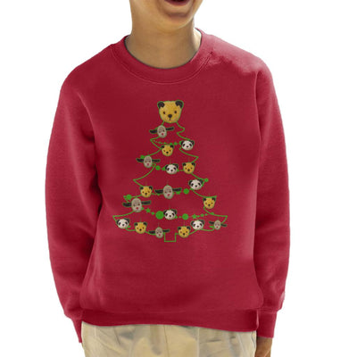 Sooty Christmas Tree Green Silhouette Kid's Sweatshirt-Sooty's Shop