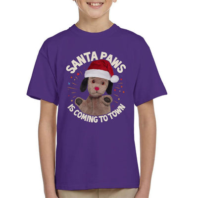 Sooty Christmas Sweep Santa Paws Is Coming To Town Kid's T-Shirt-Sooty's Shop