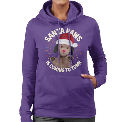 Sooty Christmas Sweep Santa Paws Is Coming To Town Women's Hooded Sweatshirt-Sooty's Shop