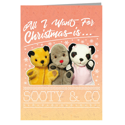 Sooty Christmas All I Want For Christmas Is Sooty And Co Greeting Card-Sooty's Shop