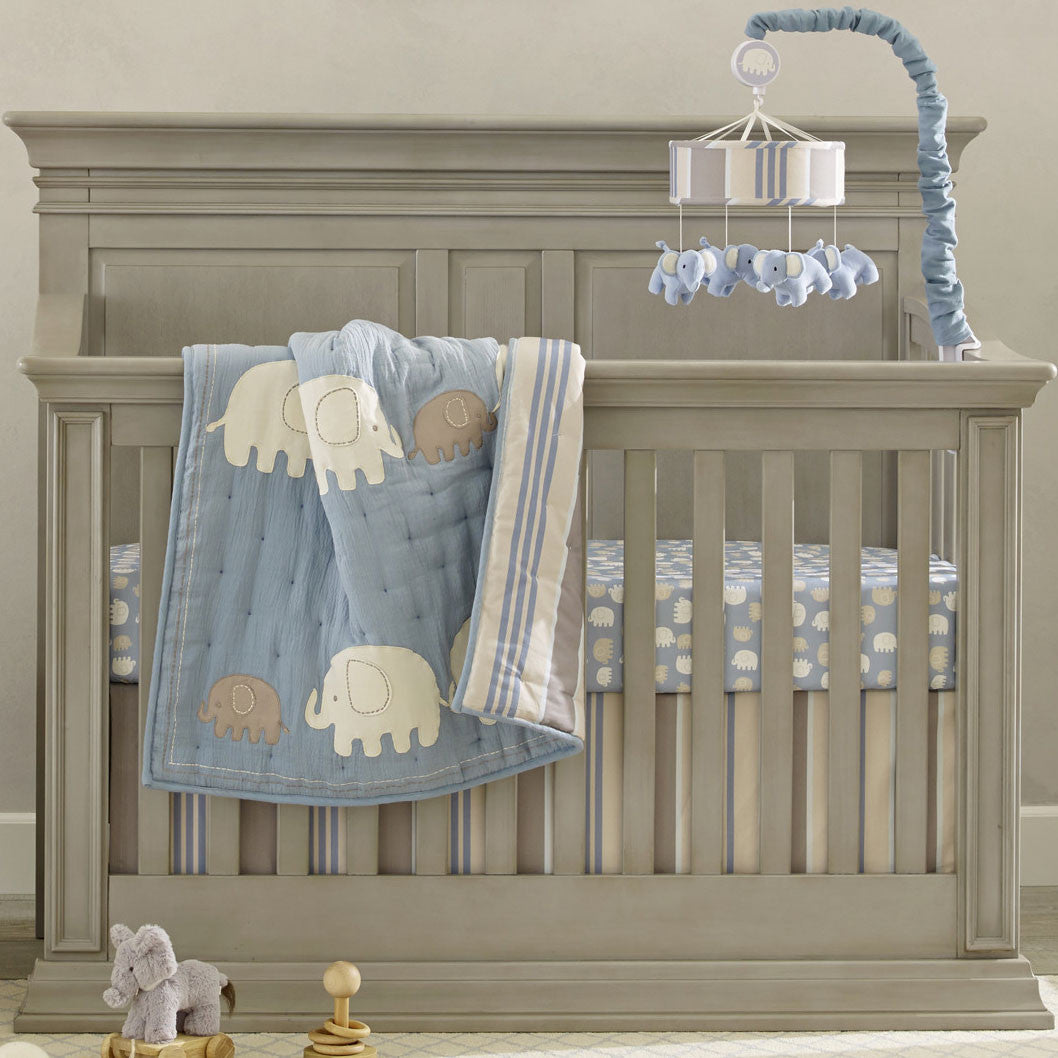 Elephant Tales Blue Gray Baby Crib Bedding Lambs Amp Ivy