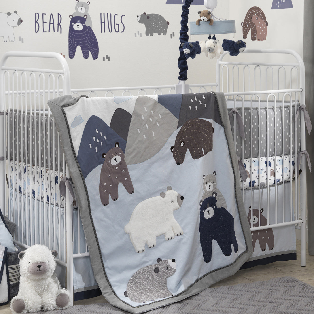 Montana Blue Gray Bears Mountains Nursery Baby Crib