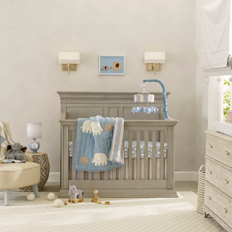 Blue Elephant Baby Nursery Crib Bedding Set