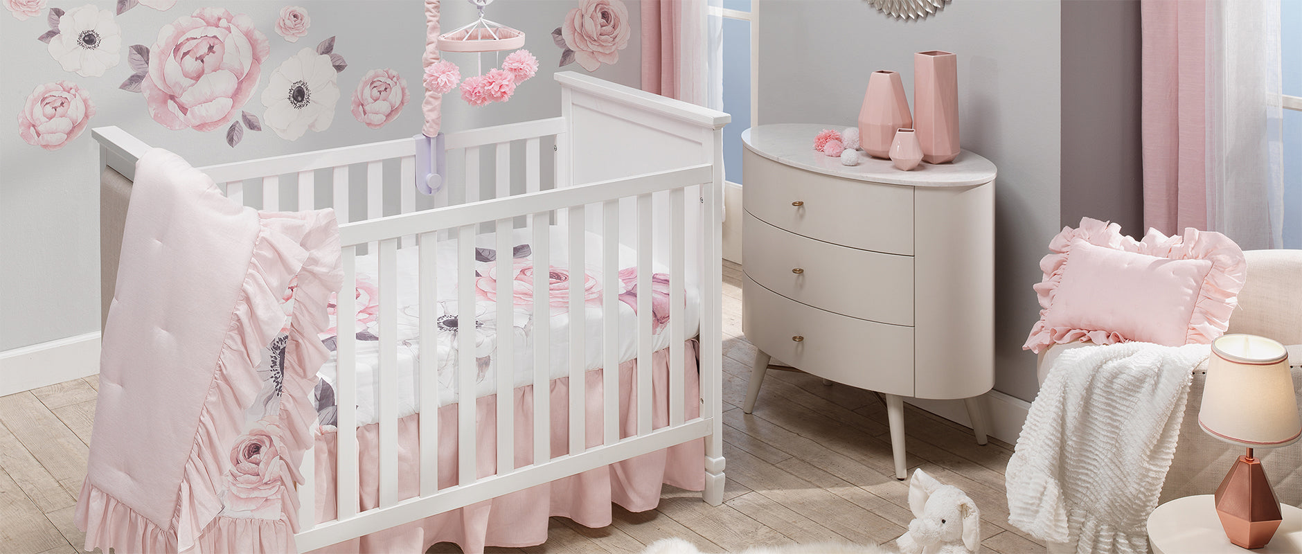 Floral Garden Pink Watercolor Nursery Crib Bedding