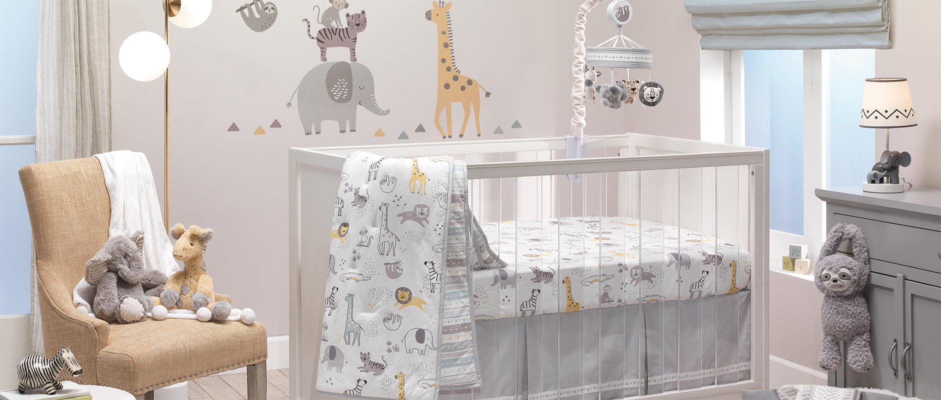Animal Jungle Cotton Jersey Nursery Crib Bedding