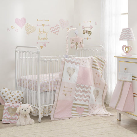Baby Love Pink and Gold Hearts Crib Bedding Collection