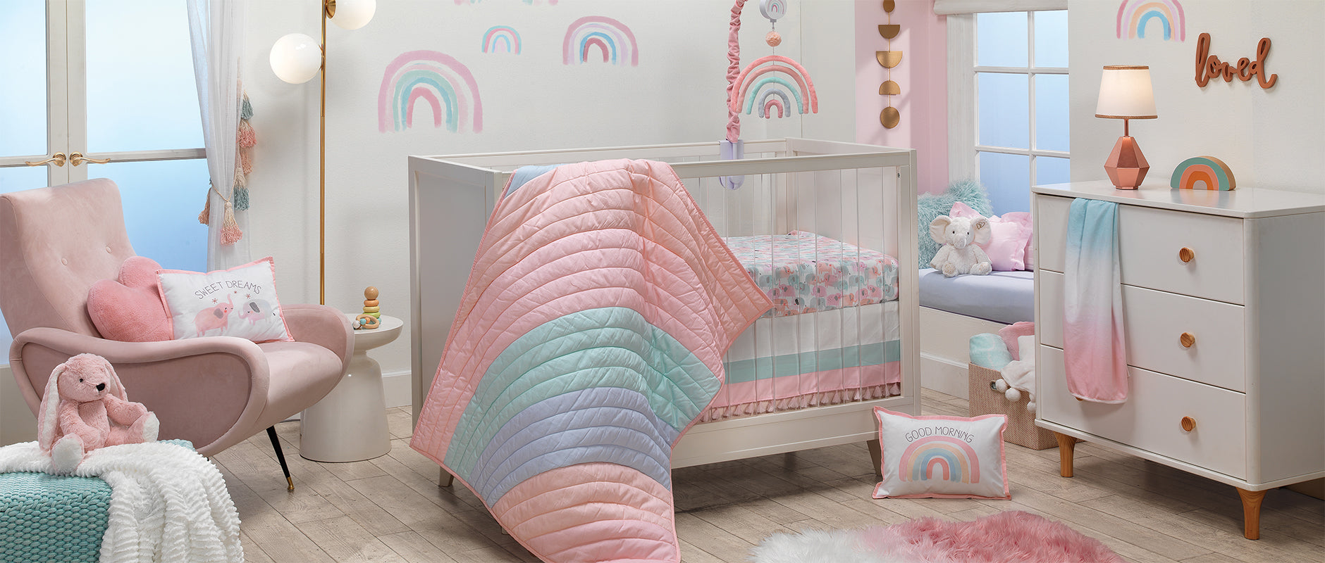 Watercolor Pastel Baby Crib Bedding Set
