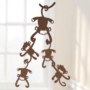 Brown Monkey Ceiling Sculptures by Lambs & Ivy