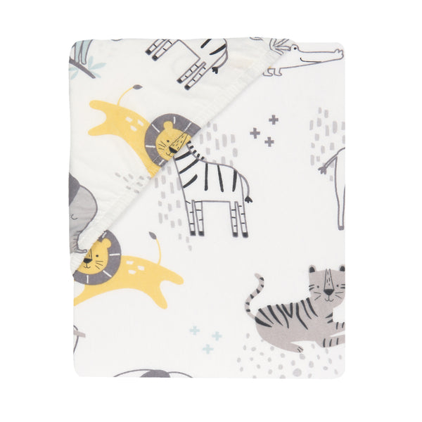 Animal Jungle Cotton Fitted Crib Sheet by Lambs & Ivy