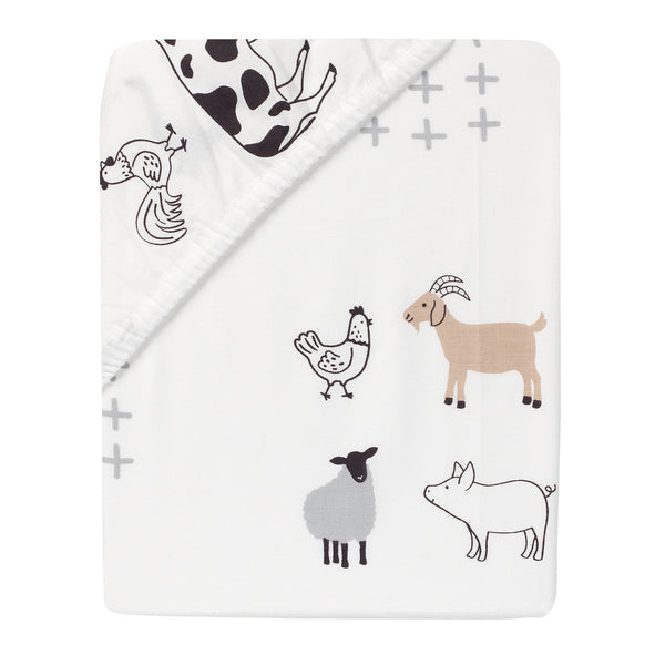 Baby Farm Cotton Fitted Crib Sheet by Lambs & Ivy