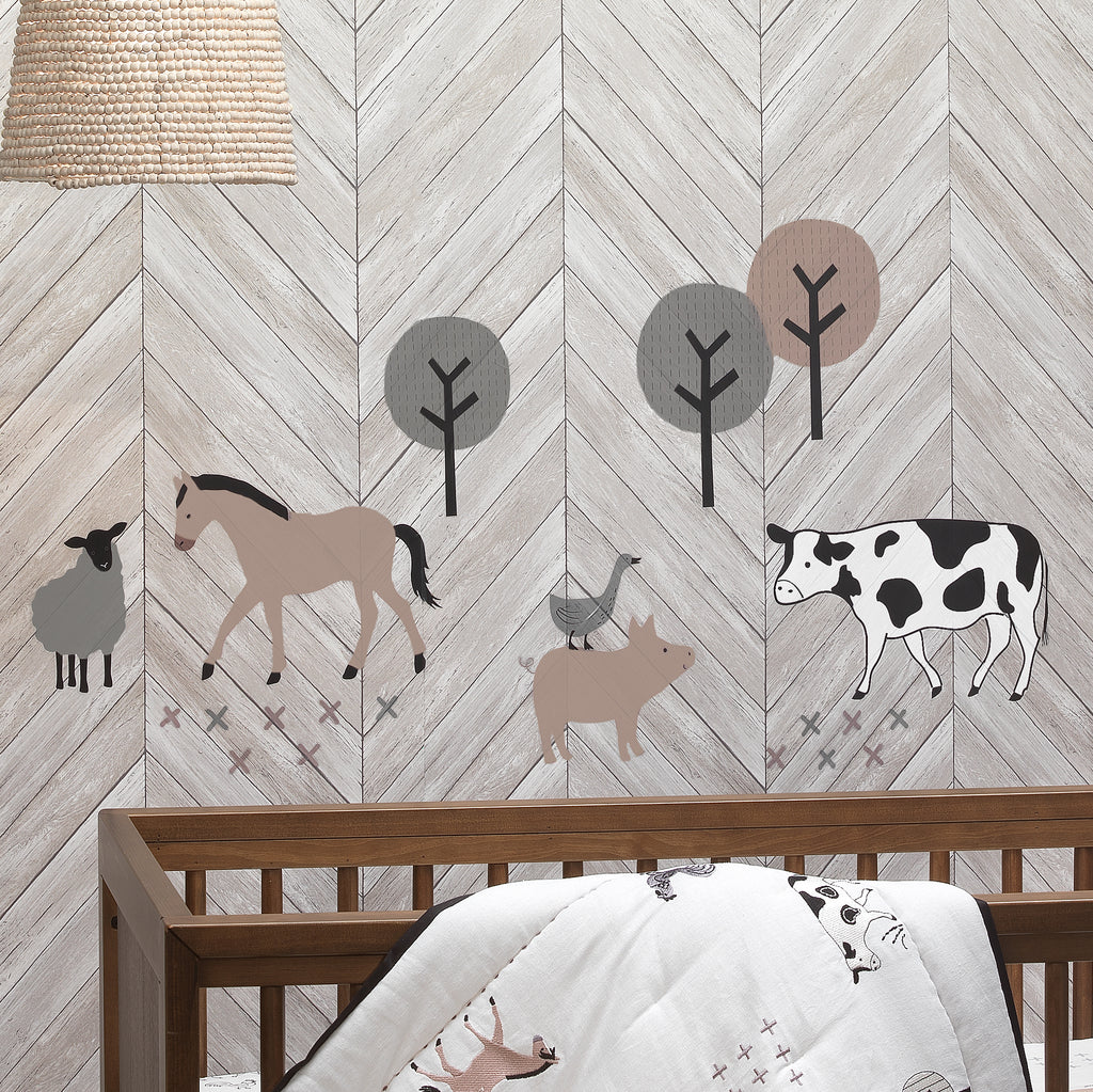 Baby Farm Animals 5 Piece Baby Crib Bedding Set White Taupe