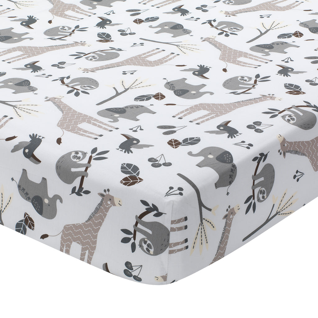 Baby Jungle Animals 4 Piece Gray White Taupe Crib Bedding Set
