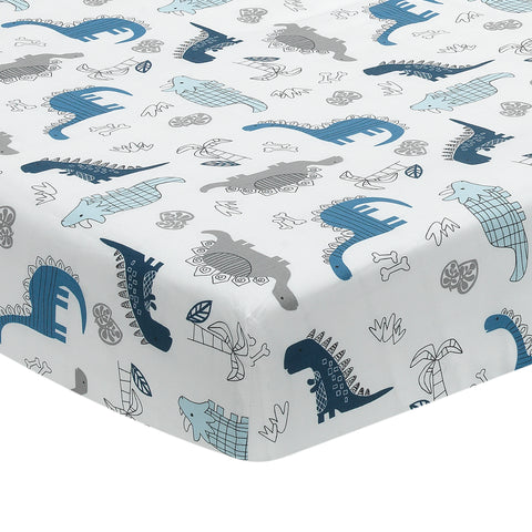 Baby Dino Cotton Fitted Crib Sheet by Lambs & Ivy
