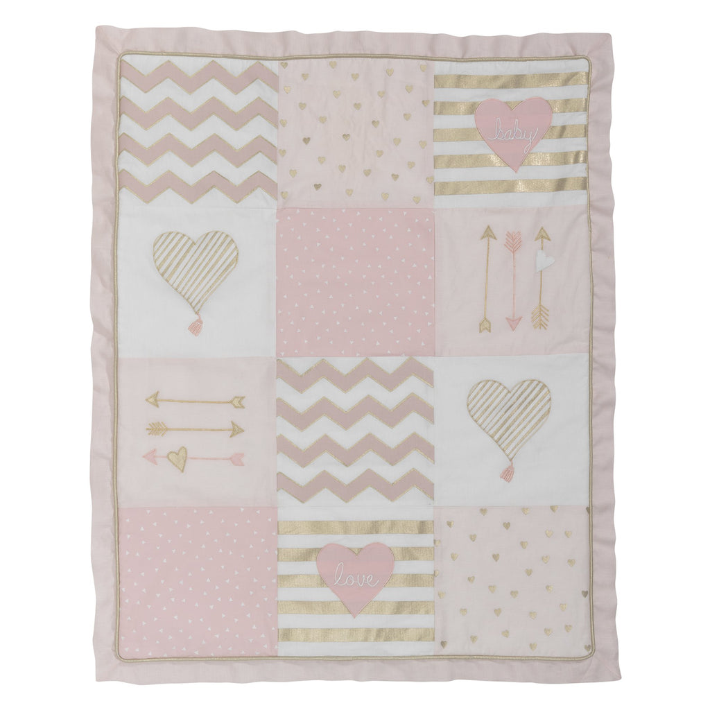Baby Love Metallic Gold Pink White Hearts Stripes And