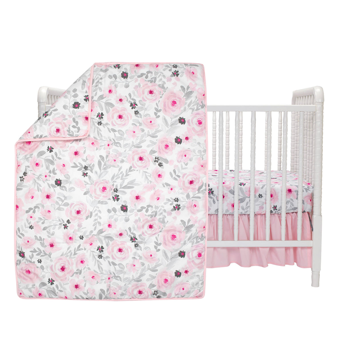 Blossom Pink Watercolor Floral 3 Piece Baby Crib Bedding Set