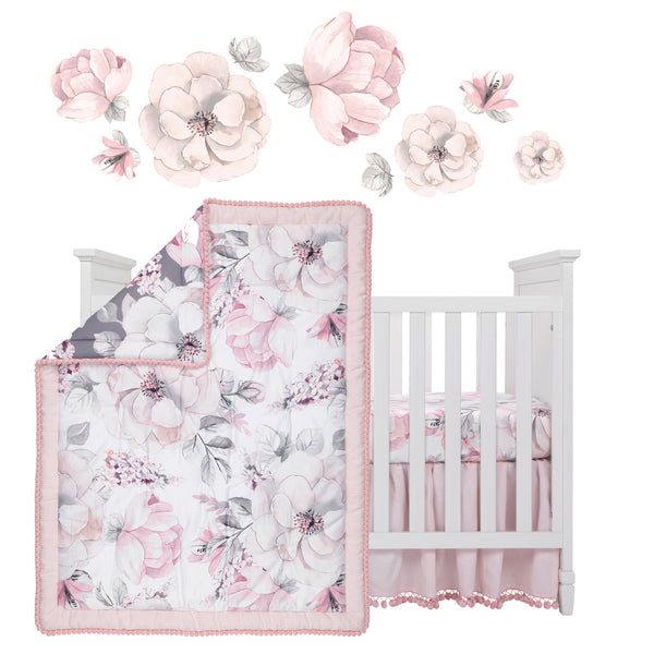 Signature Botanical Baby 4-Piece Crib Bedding Set - Lambs & Ivy