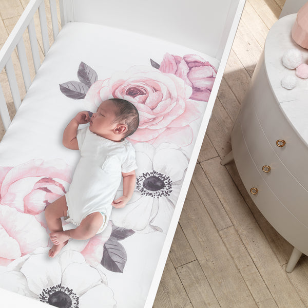 Floral Garden Cotton Fitted Crib Sheet - Lambs & Ivy