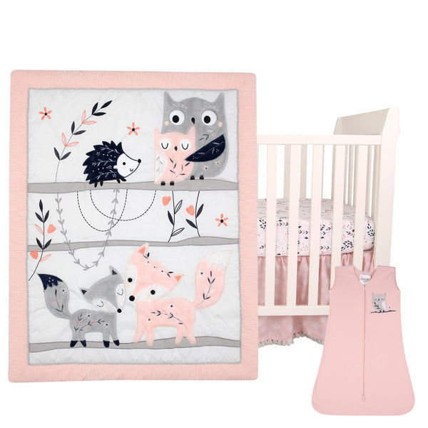 Forever Friends 4-Piece Nursery Crib Baby Bedding Set - Lambs & Ivy