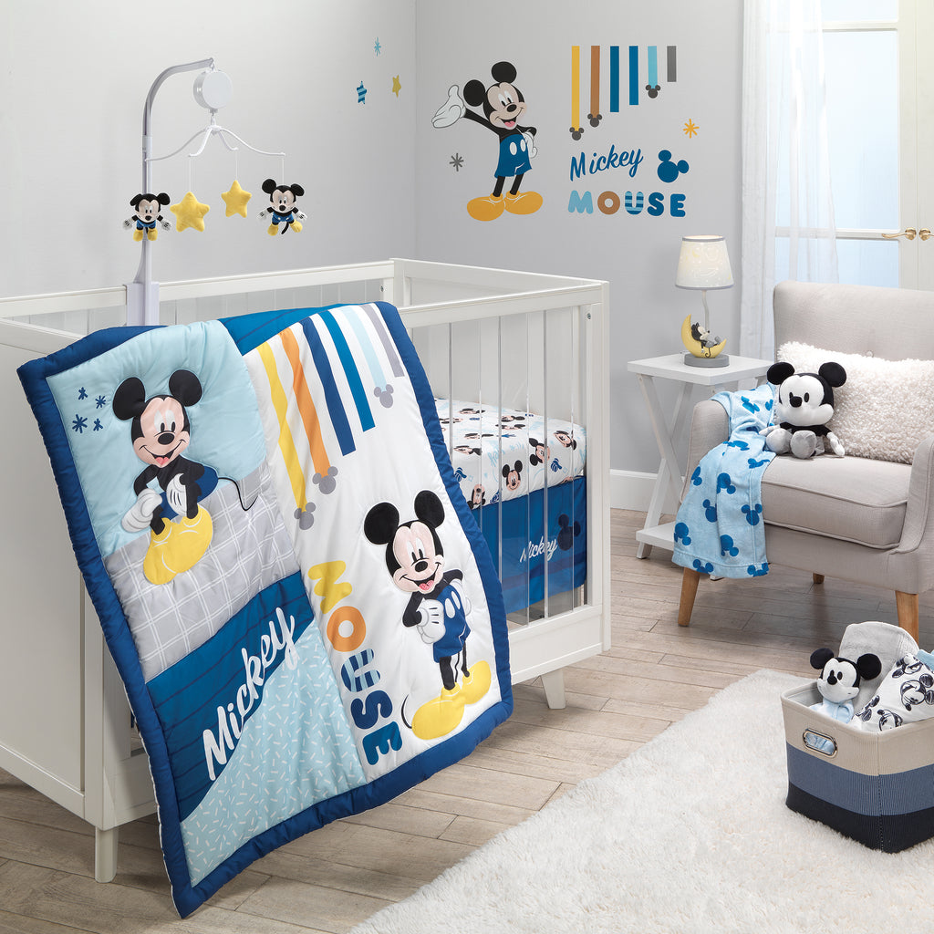 Disney Baby Forever Mickey Mouse 3 Piece Blue Crib Bedding Set