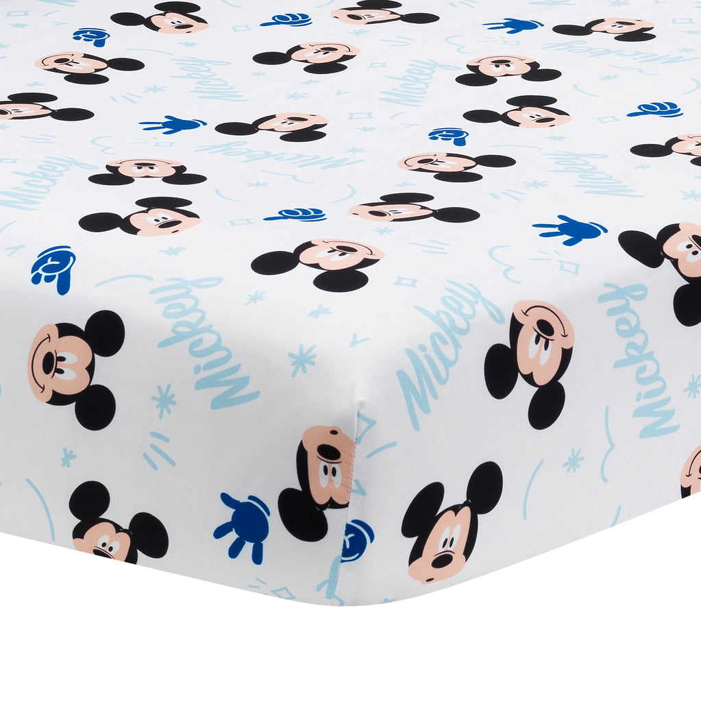 Disney Baby Forever Mickey Mouse White Fitted Crib Sheet